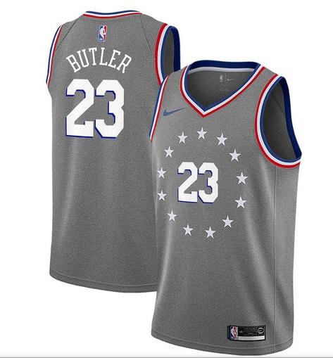 76ers 23 Jimmy Butler Gray 2018-19 City Edition Nike Swingman Jersey