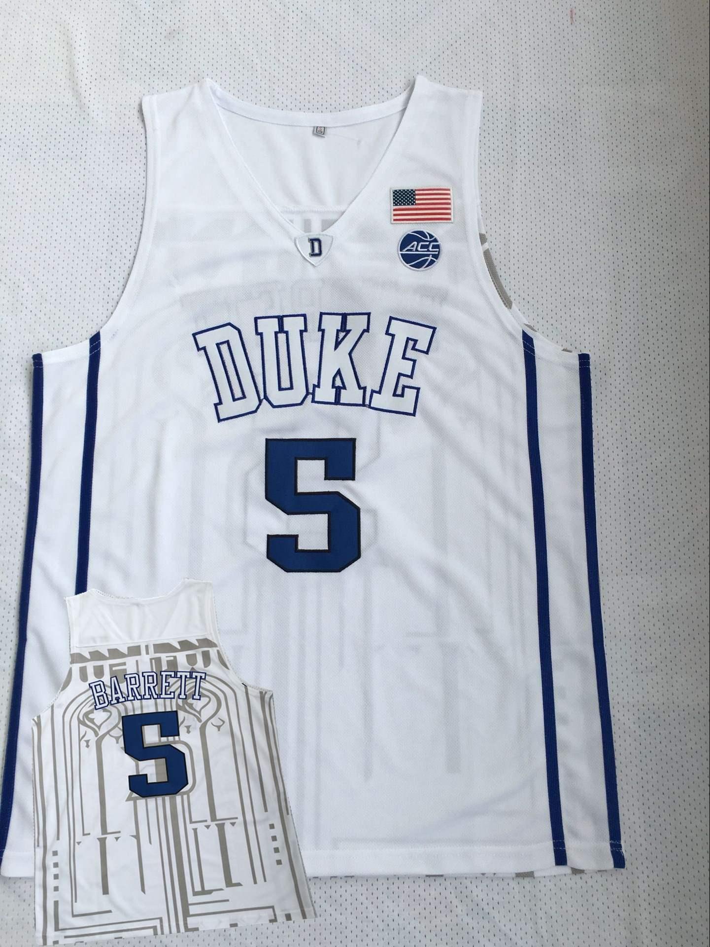 Duke Blue Devils 5 R.J. Barrett White College Basketball Jersey