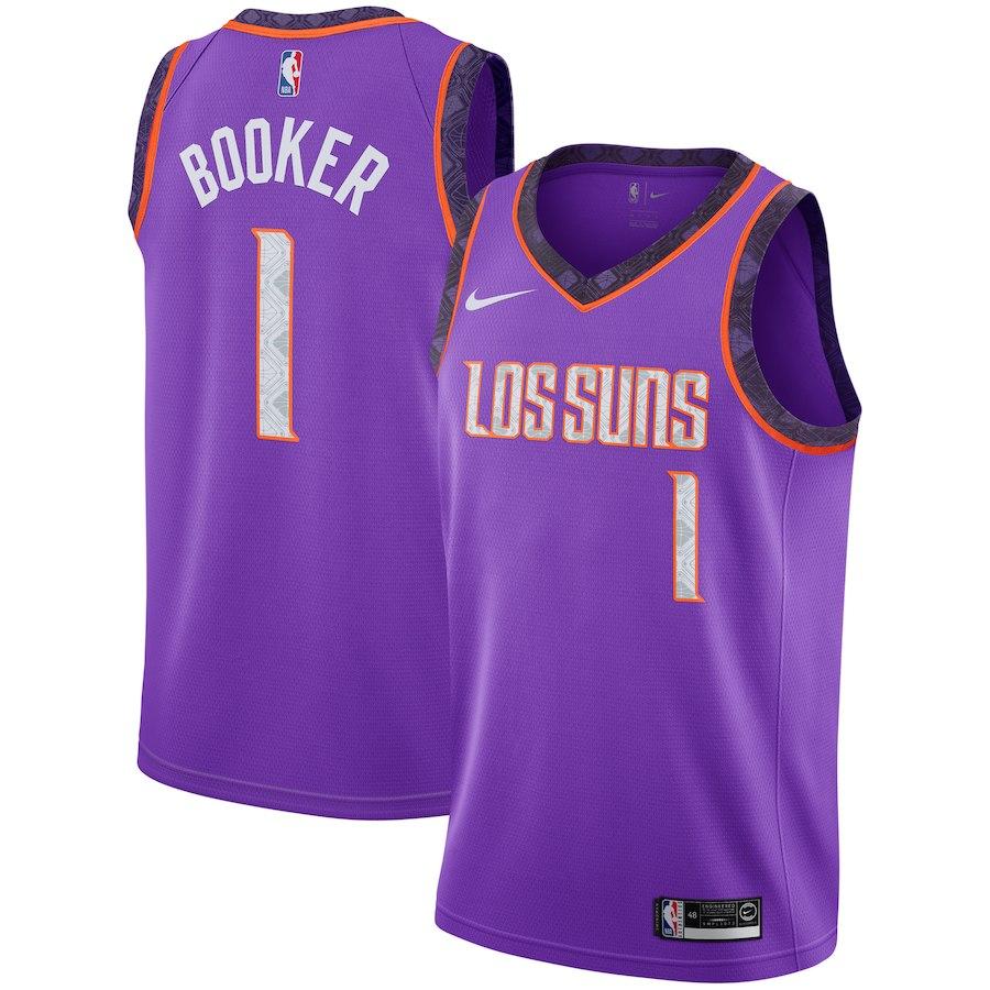 Suns 1 Devin Booker Purple 2018-19 City Edition Nike Swingman Jersey