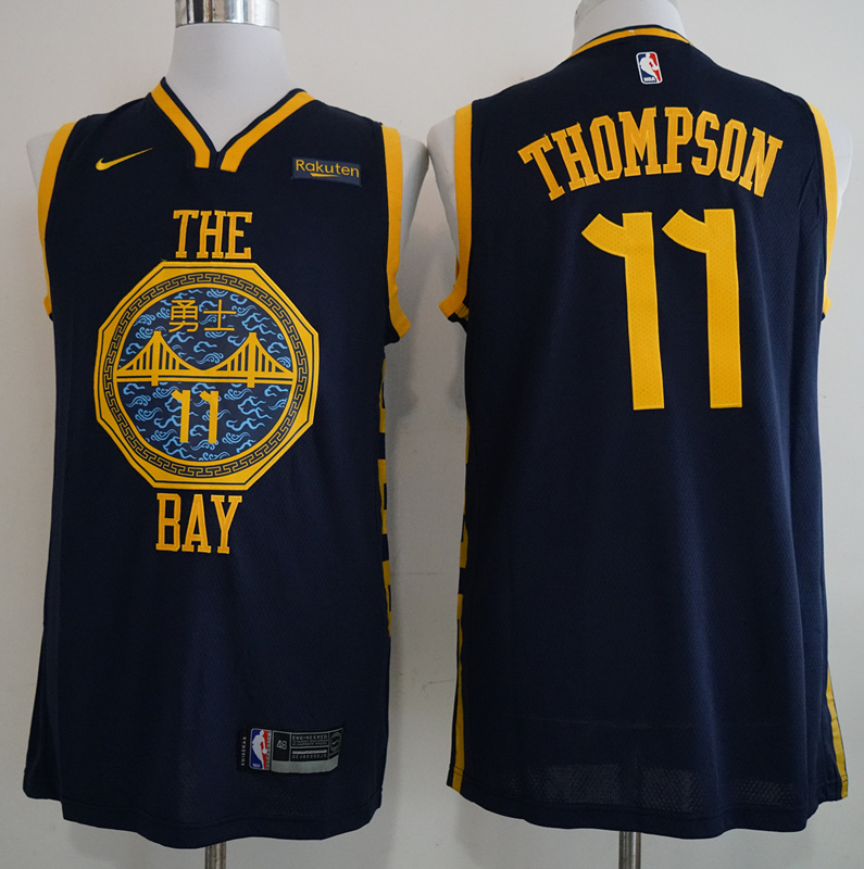 Warriors 11 Klay Thompson Navy 2018-19 City Edition Nike Swingman Jersey