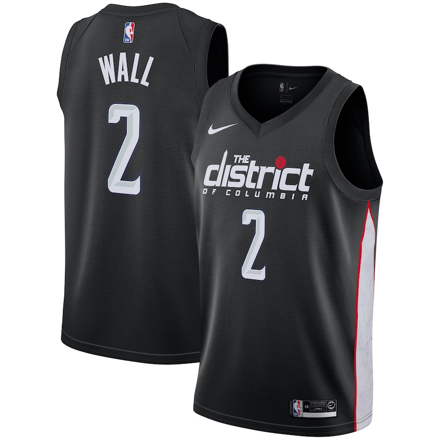 Wizards 2 John Wall Black 2018-19 City Edition Nike Swingman Jersey