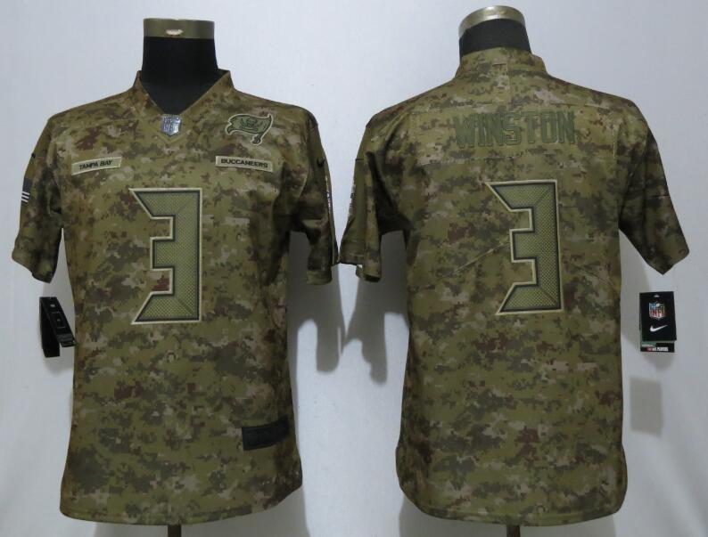 Nike Buccaneers 3 Jameis Winston Camo Women Salute To Service Limited Jersey