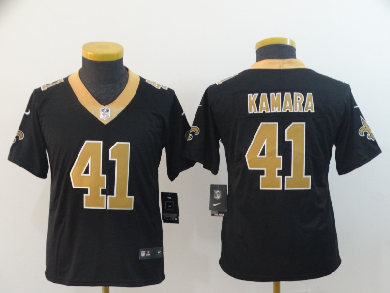 Nike Saints 41 Alvin Kamara Black Youth Vapor Untouchable Limited Jersey