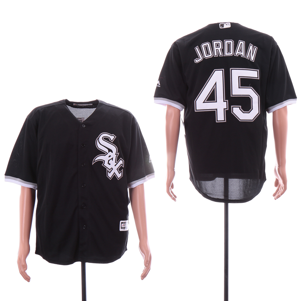 White Sox 45 Michael Jordan Black Cool Base Jersey