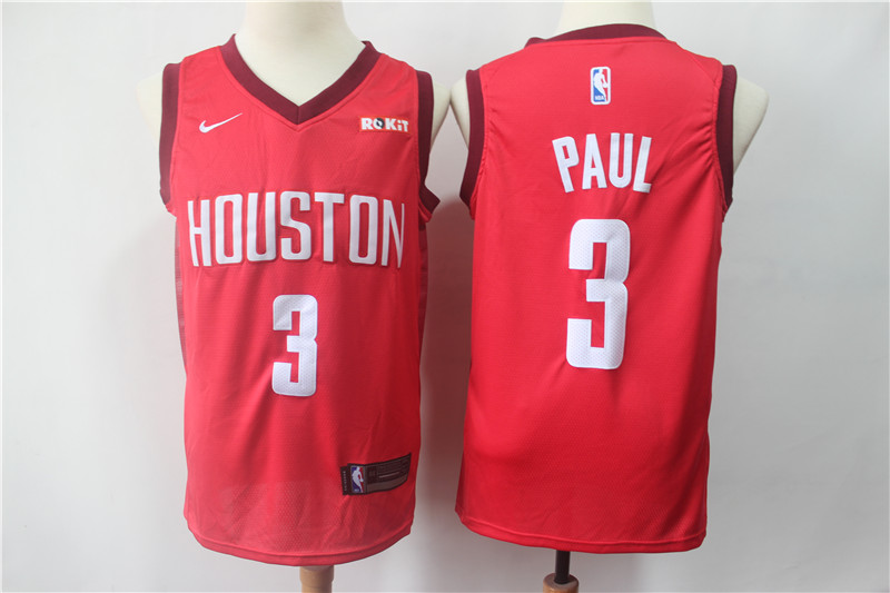 Rockets 3 Chris Paul Red 2018-19 Earned Edition Nike Swingman Jersey
