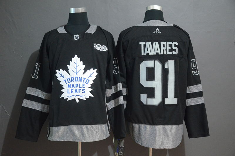 Maple Leafs 91 John Tavares Black 1917-2017 100th Anniversary Adidas Jersey
