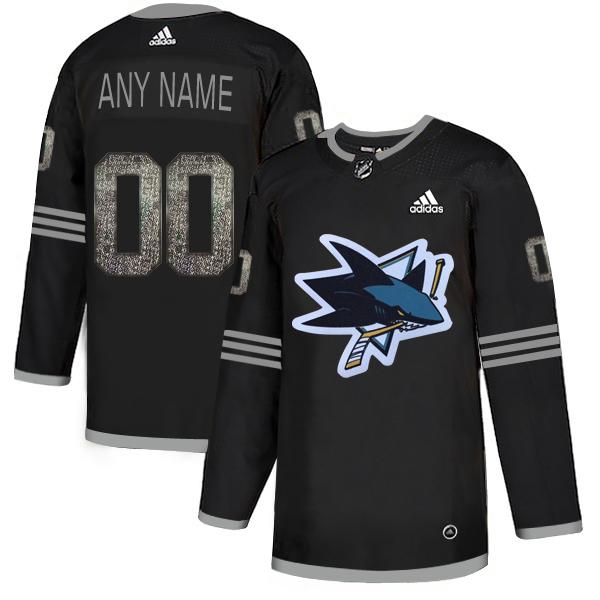 Sharks Black Shadow Logo Print Men's Customized Adidas Jersey