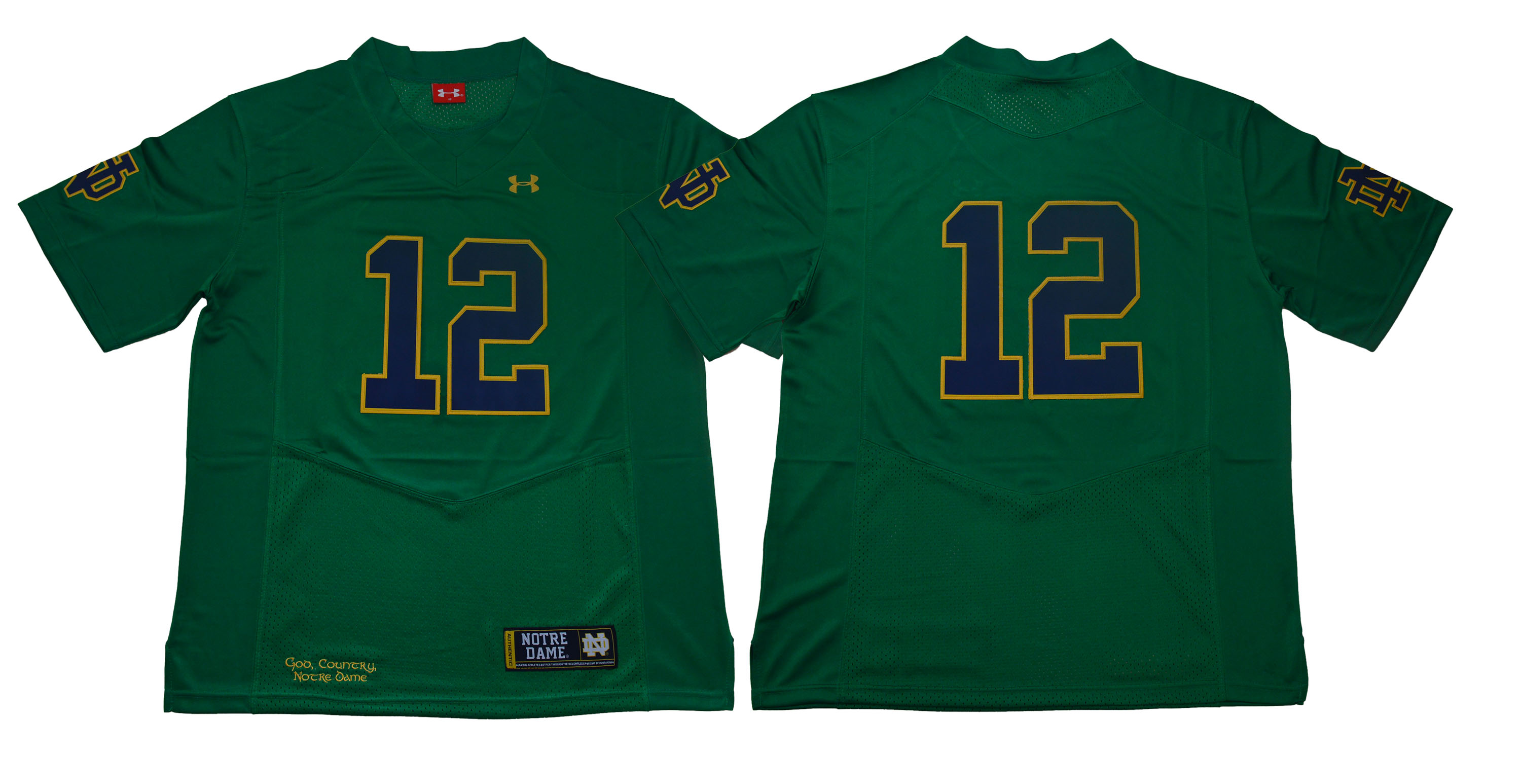 Notre Dame Fighting Irish #12 Green Under Armour College Football Jersey