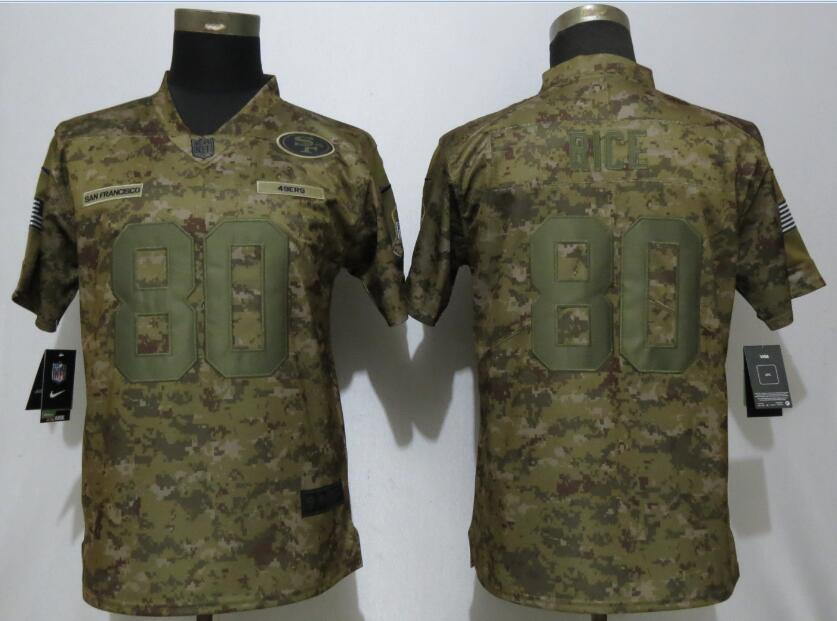 Nike 49ers 80 Jerry Rice Camo Women Salute To Service Limited Jersey