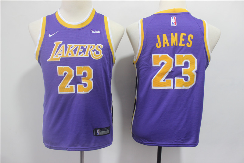 Lakers 23 Lebron James Purple Youth 2018-19 Nike Swingman Jersey