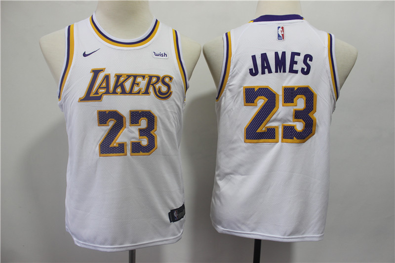 Lakers 23 Lebron James White Youth 2018-19 Nike Swingman Jersey