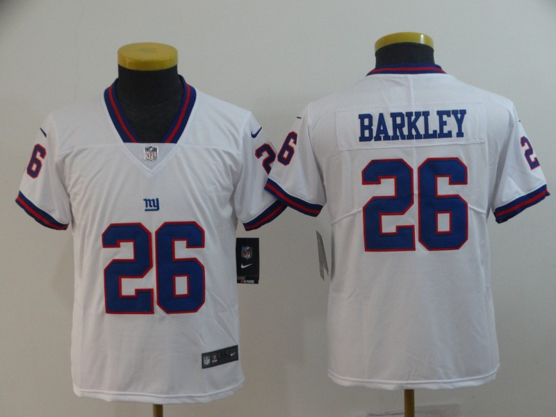 Nike Giants 26 Saquon Barkley White Youth Color Rush Limited Jersey