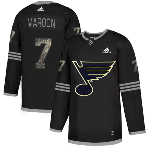 Blues 7 Patrick Maroon Black Shadow Adidas Jersey