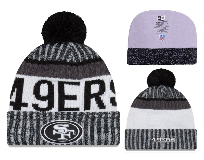 49ers Big Logo Black Pom Knit Hat YD