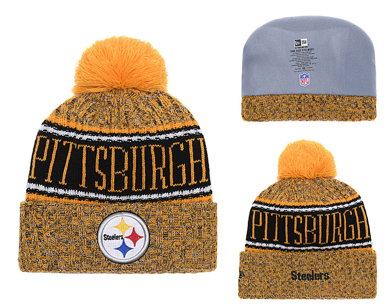 4e16e93ec2f Steelers 2018 NFL Sideline Gold Pom Knit Hat YD