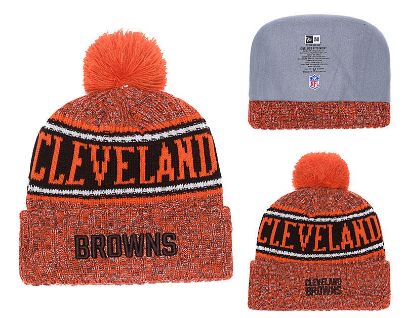 da9c11f47e9 Browns 2018 NFL Sideline Orange Pom Knit Hat YD