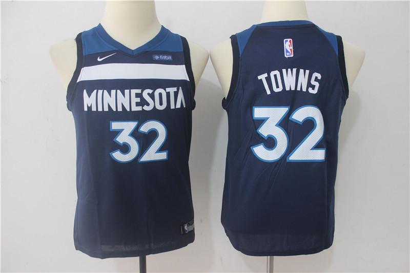 Timberwolves 32 Karl-Anthony Towns Navy Youth Nike Swingman Jersey