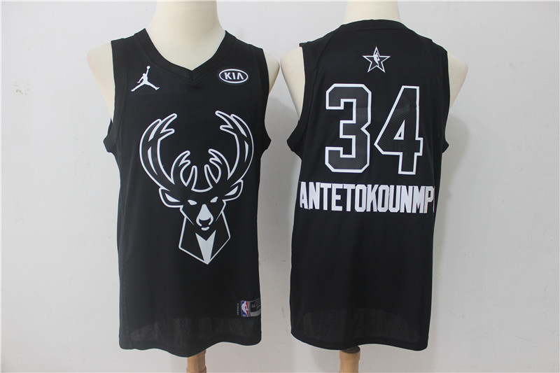 Bucks 34 Giannis Antetokounmpo Black 2018 All-Star Game Swingman Jersey