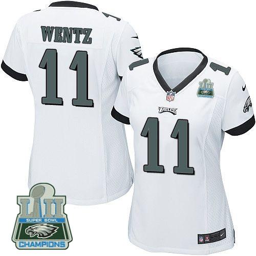 Nike Eagles 11 Carson Wentz White Women 2018 Super Bowl Champions Game Jersey