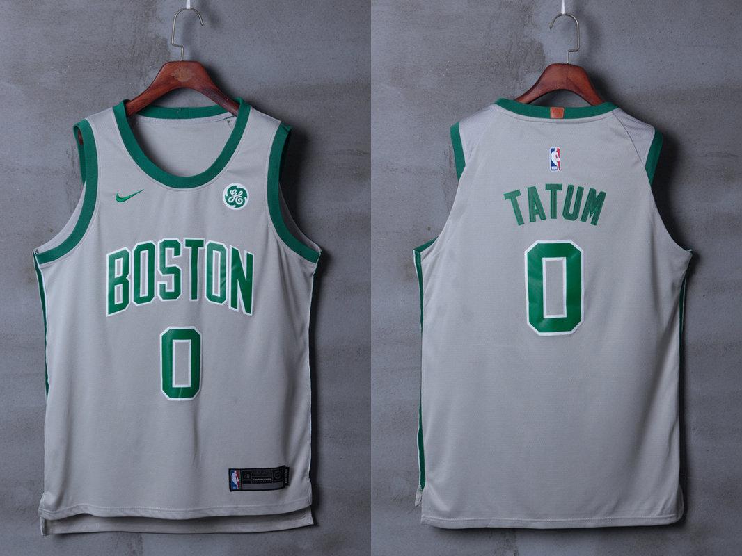 Celtics 0 Jayson Tatum Gray City Edition Nike Authentic Jersey