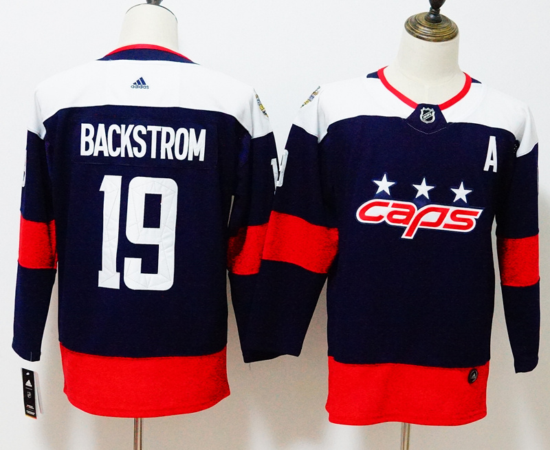 Capitals 19 Nicklas Backstrom Navy Youth 2018 Stadium Series Adidas Jersey