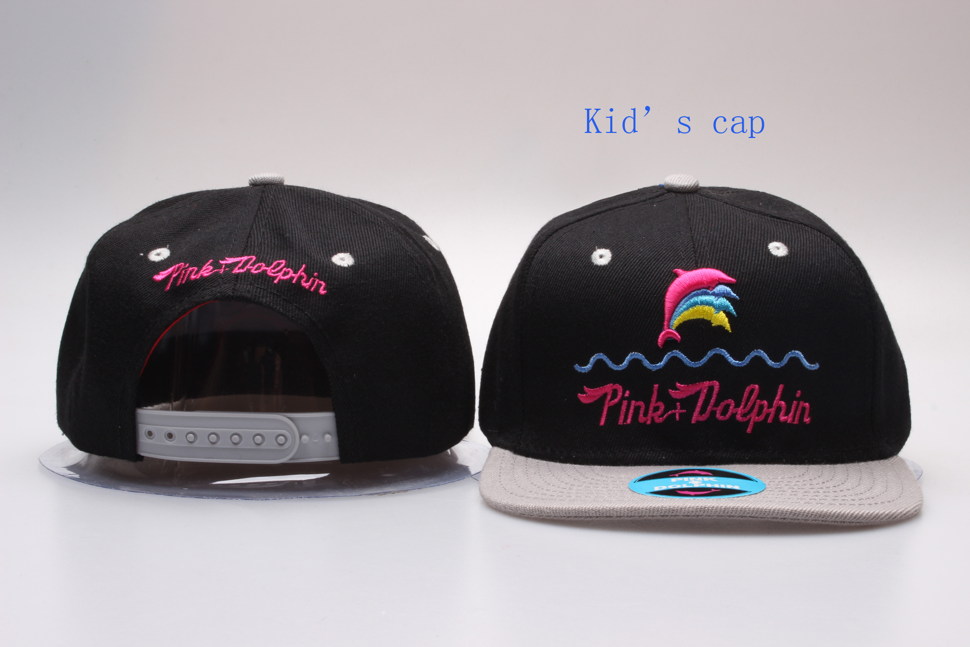 Pink Dolphin Logo Black Kid's Snapback Adjustable Hat YP