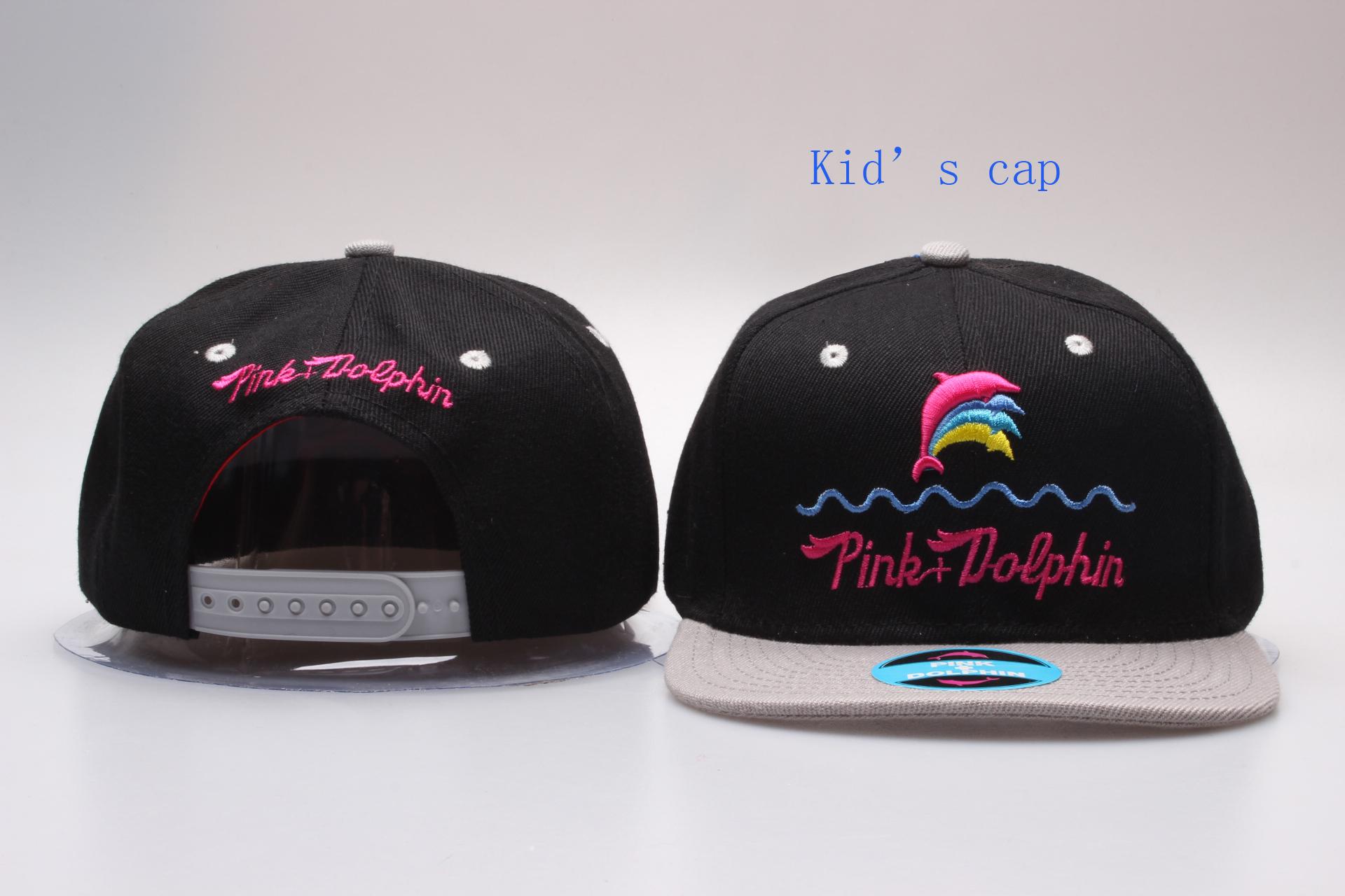 Pink Dolphin Logo Black Kid's Snapback Adjustable Hat YP