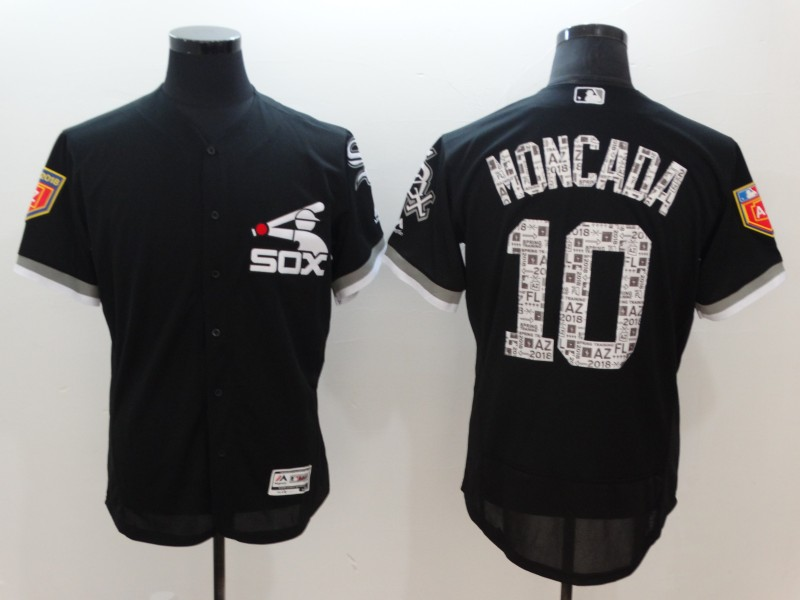 White Sox 10 Yoan Moncada Black 2018 Spring Training Flexbase Jersey