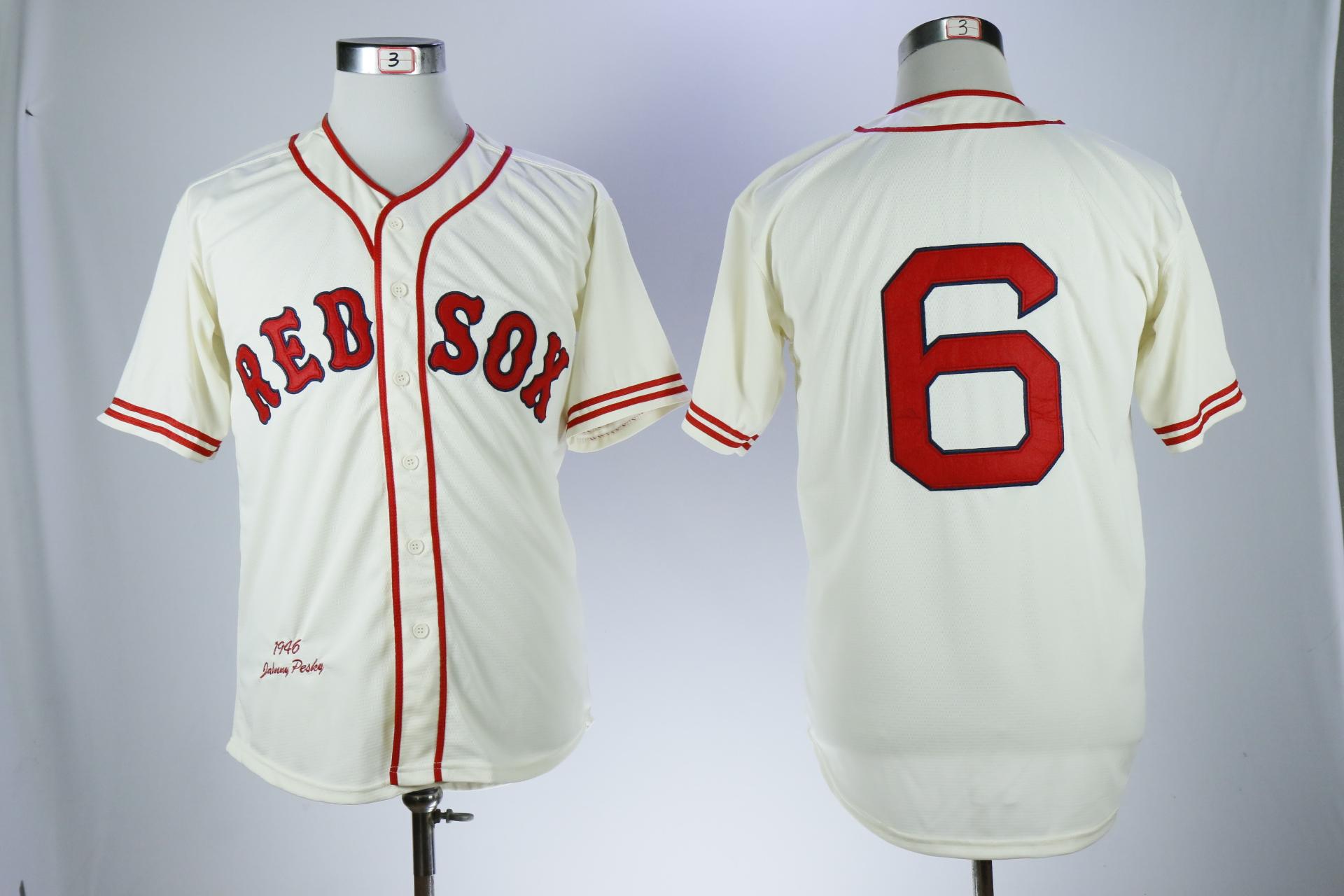 Red Sox 6 Johnny Pesky Cream 1946 Throwback Jersey