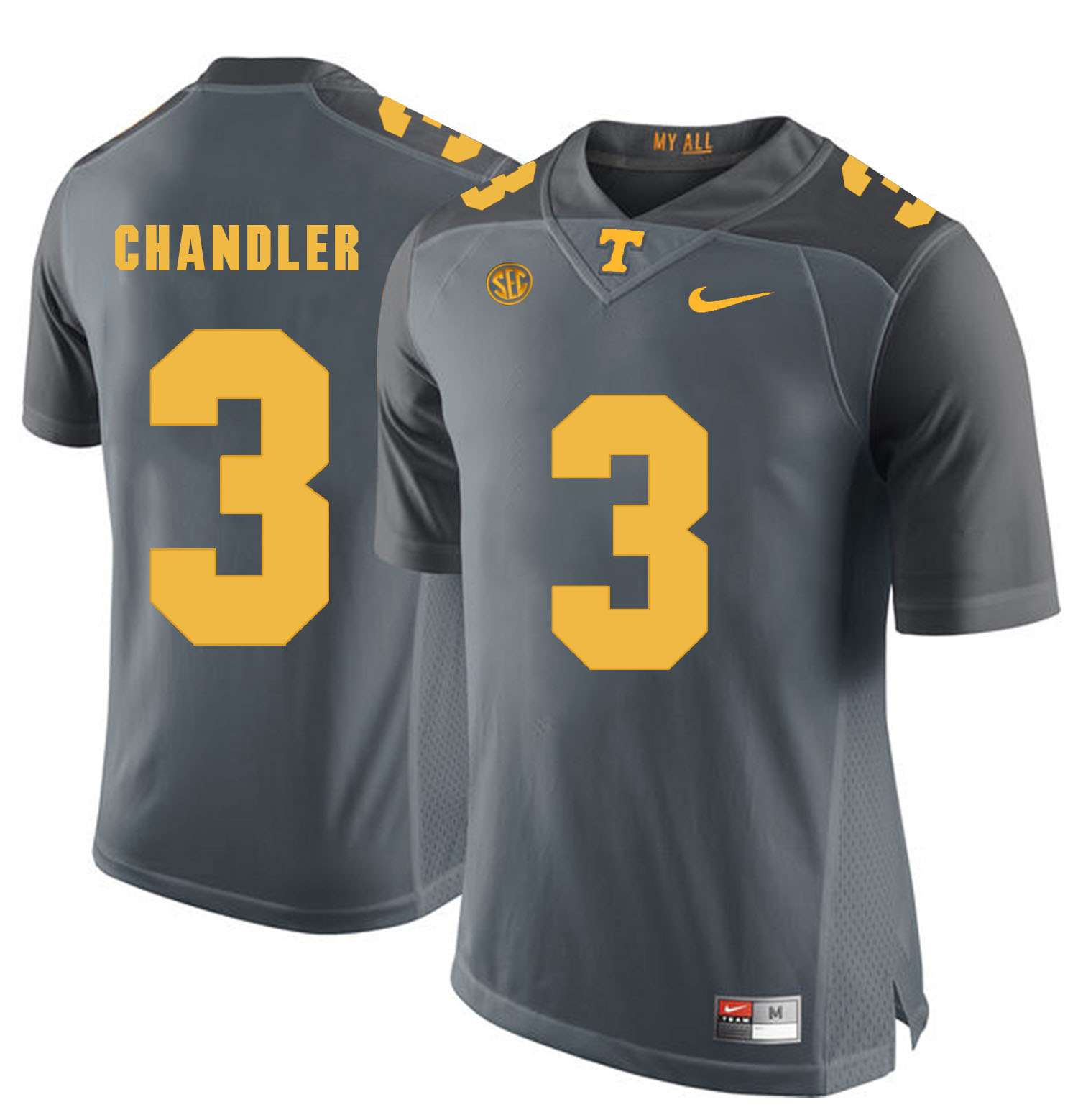 Tennessee Volunteers 3 White Ty Chandler Gray College Football Jersey