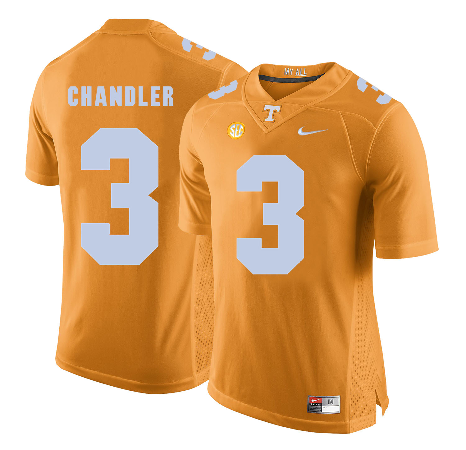 Tennessee Volunteers 3 White Ty Chandler Orange College Football Jersey