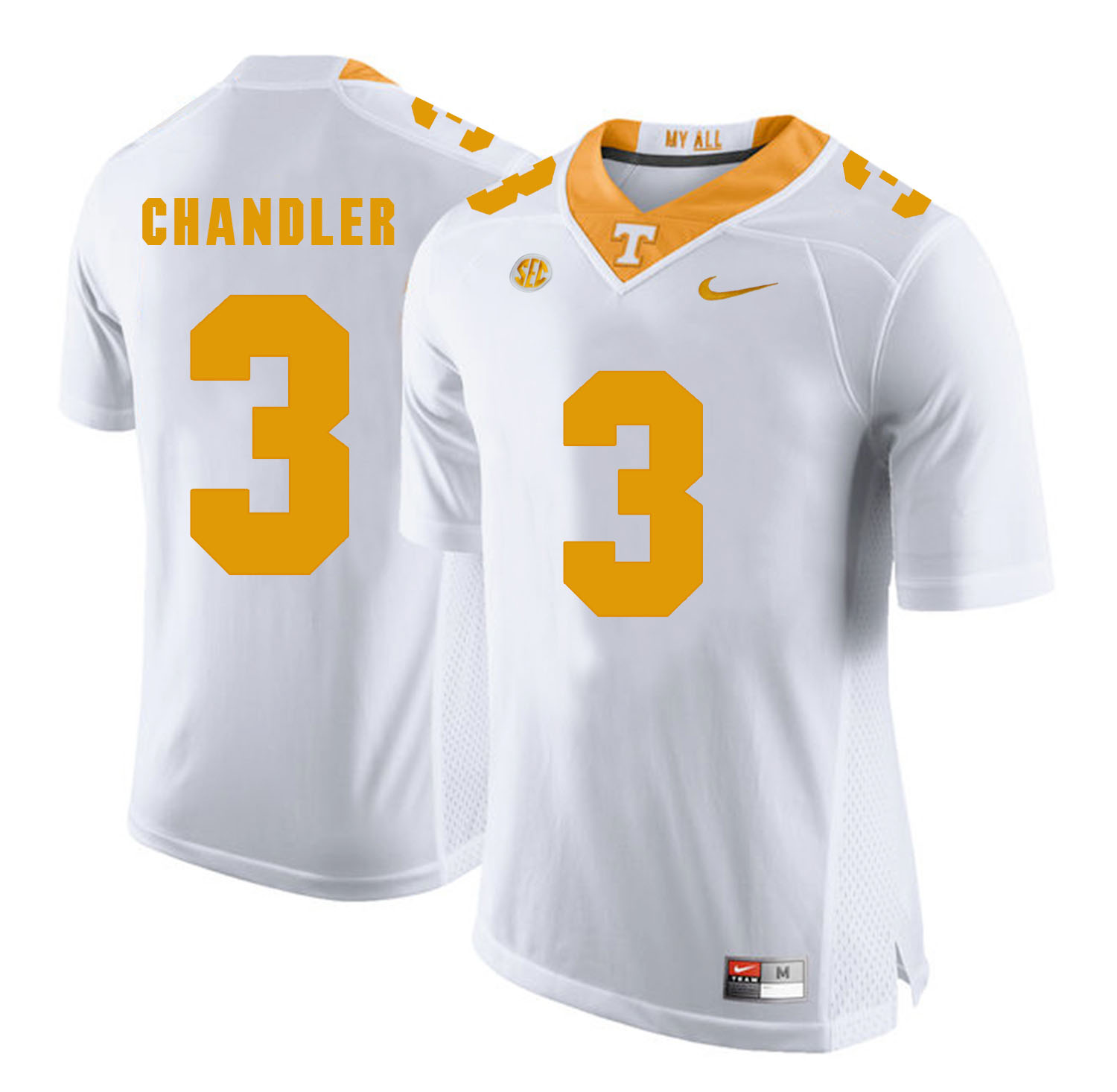 Tennessee Volunteers 3 White Ty Chandler White College Football Jersey