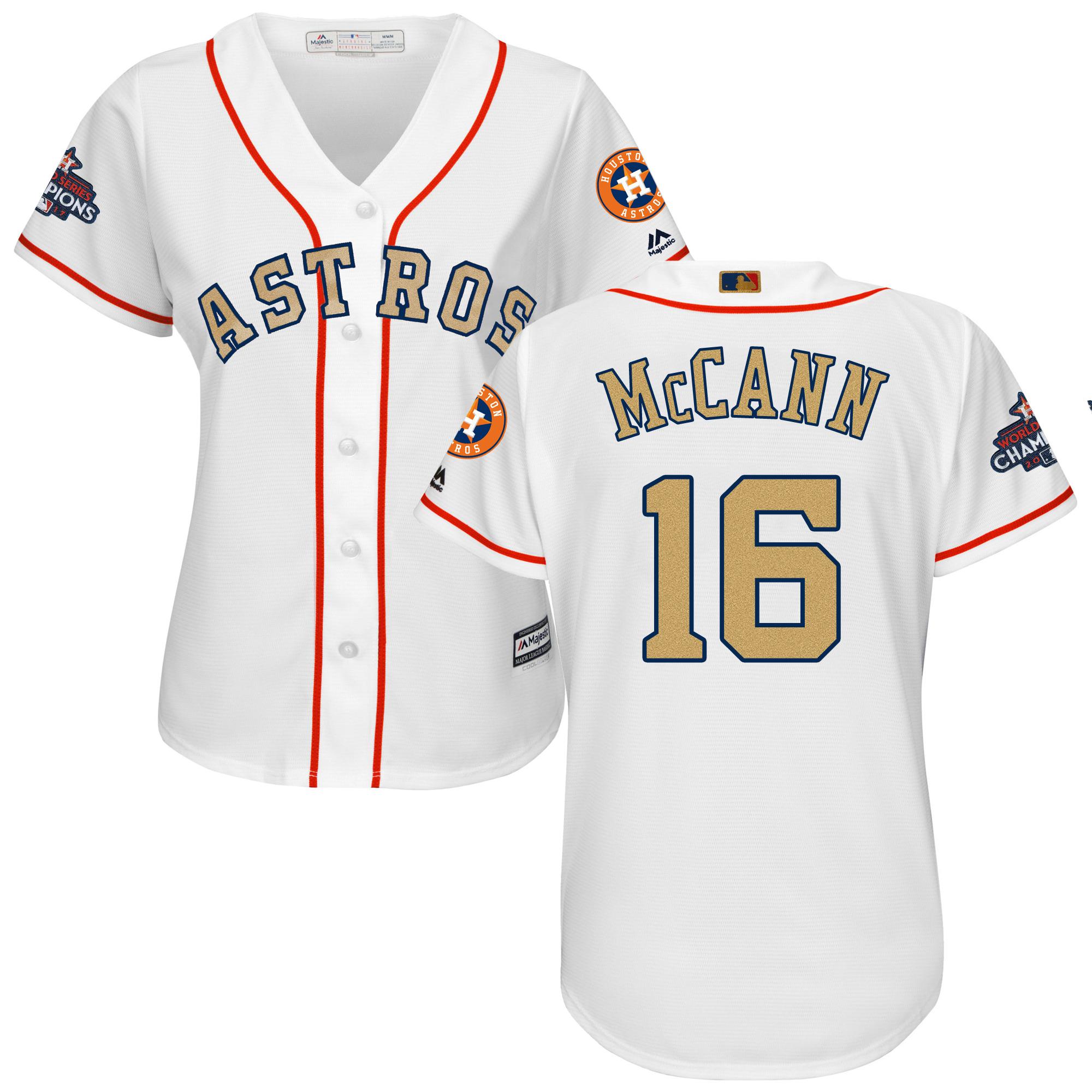 Astros 16 Brian McCann White Women 2018 Gold Program Cool Base Jersey