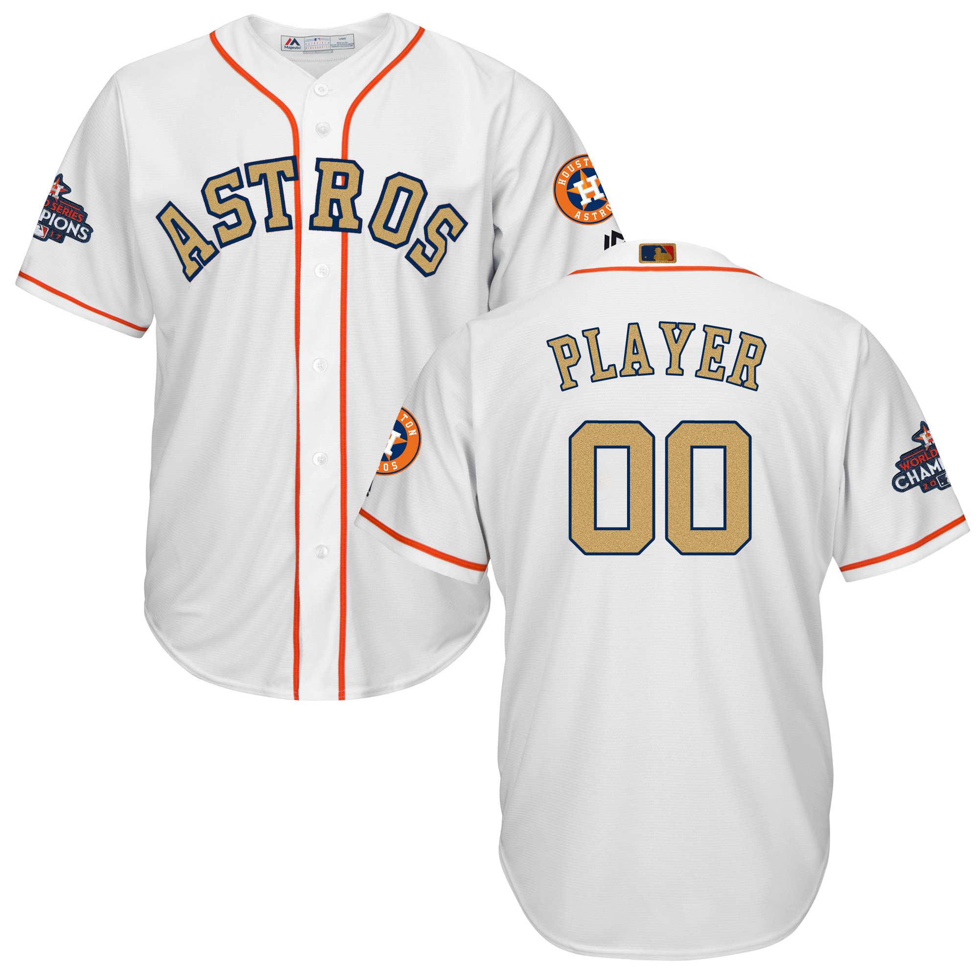 Houston Astros White 2018 Gold Program Men's Customized Cool Base Jersey