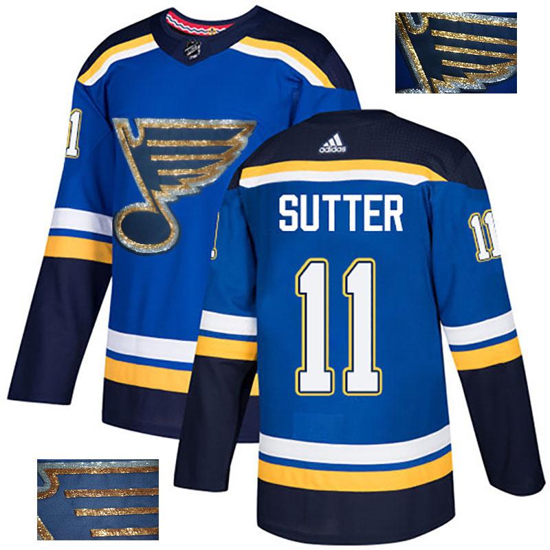 Blues 11 Brian Sutter Blue Glittery Edition Adidas Jersey