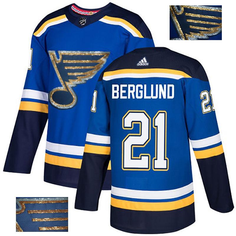 Blues 21 Patrik Berglund Blue Glittery Edition Adidas Jersey