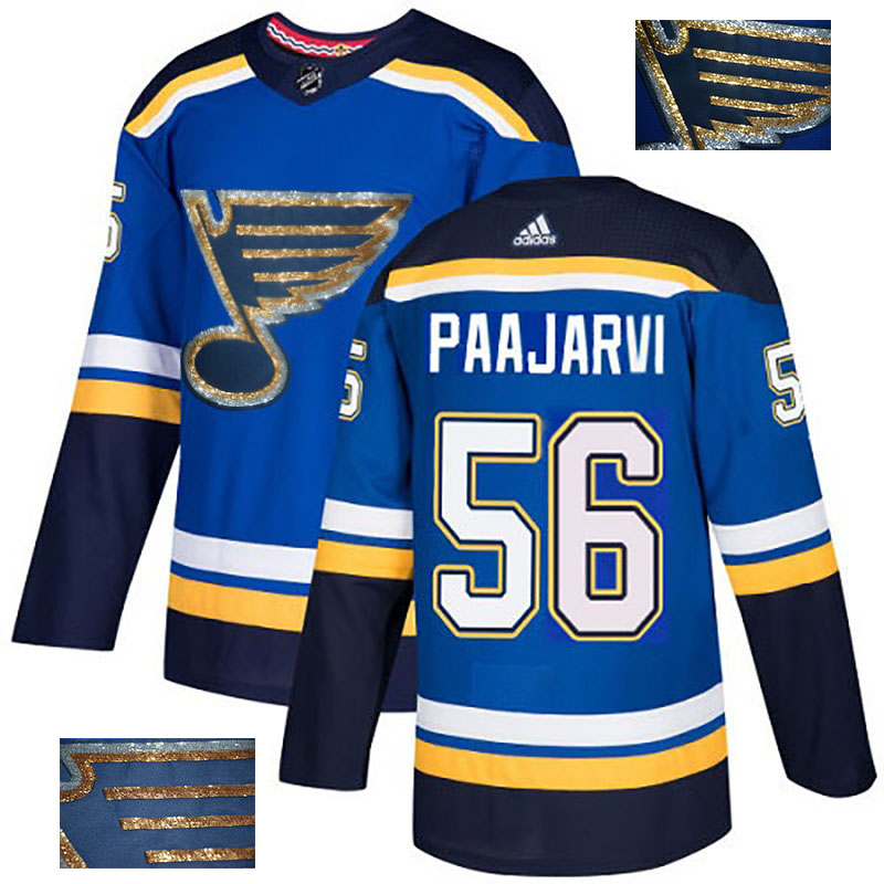 Blues 56 Magnus Paajarvi Blue Glittery Edition Adidas Jersey