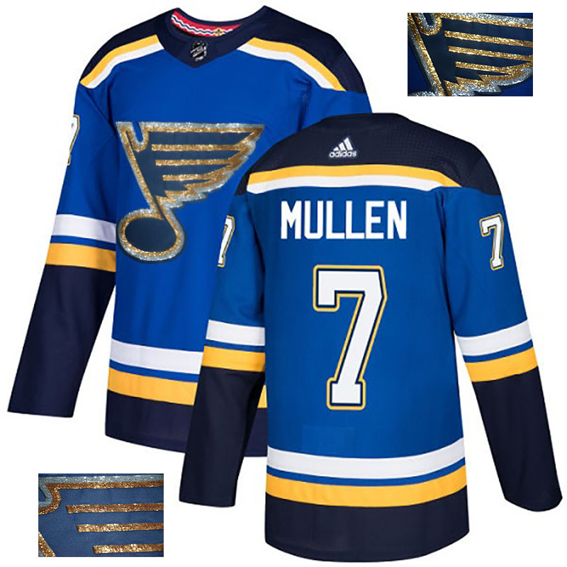 Blues 7 Joe Mullen Blue Glittery Edition Adidas Jersey
