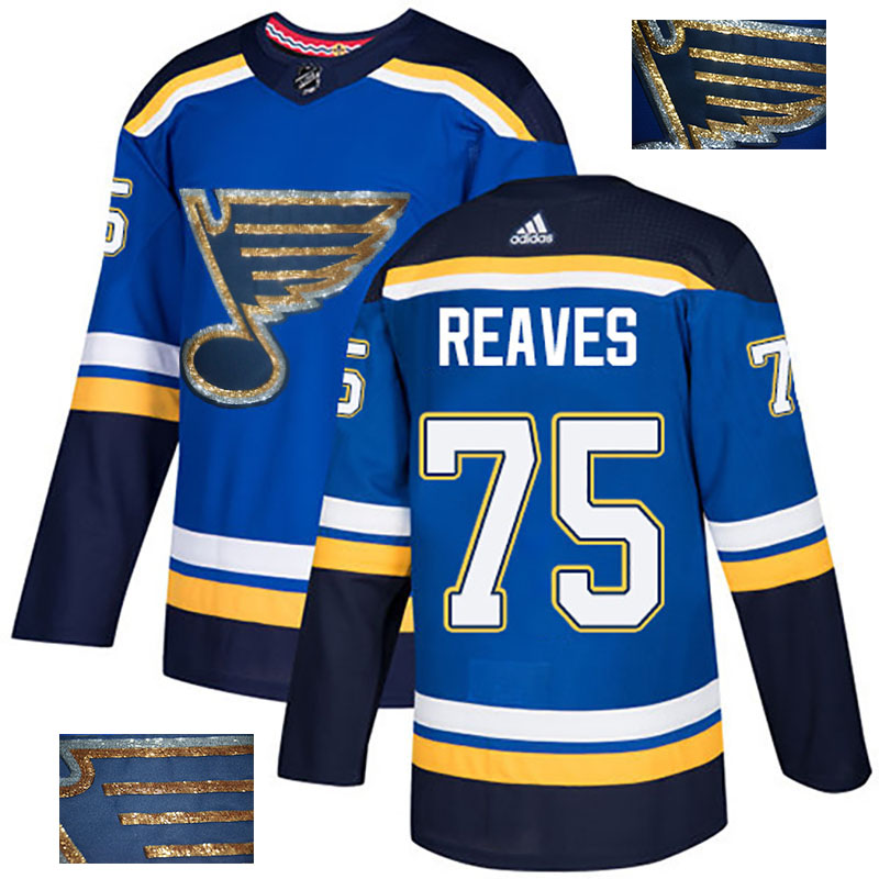 Blues 75 Ryan Reaves Blue Glittery Edition Adidas Jersey