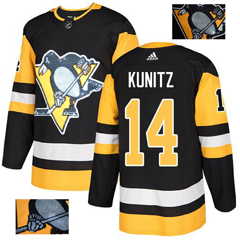Penguins 14 Chris Kunitz Black Glittery Edition Adidas Jersey