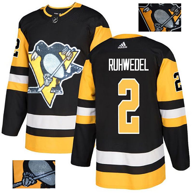 Penguins 2 Chad Ruhwedel Black Glittery Edition Adidas Jersey