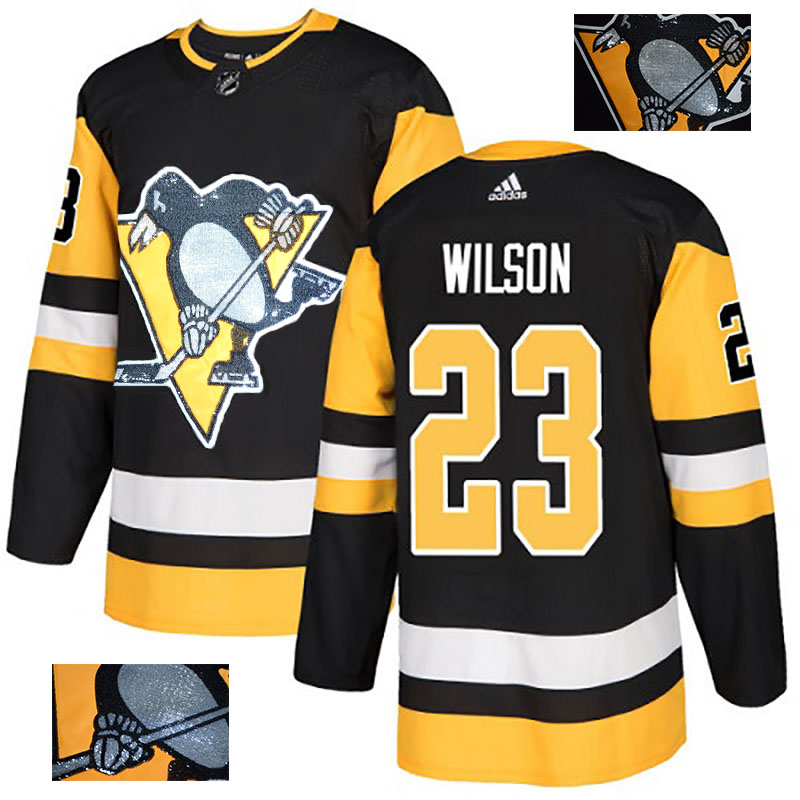 Penguins 23 Scott Wilson Black Glittery Edition Adidas Jersey