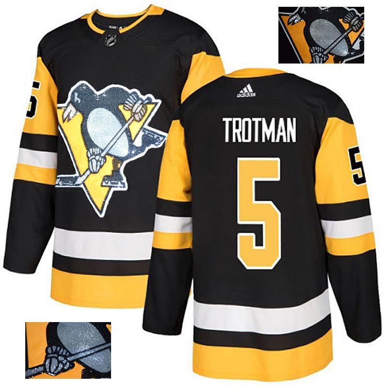Penguins 5 Zach Trotman Black Glittery Edition Adidas Jersey
