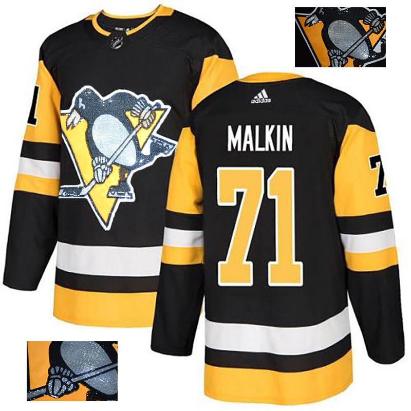 Penguins 71 Evgeni Malkin Black Glittery Edition Adidas Jersey