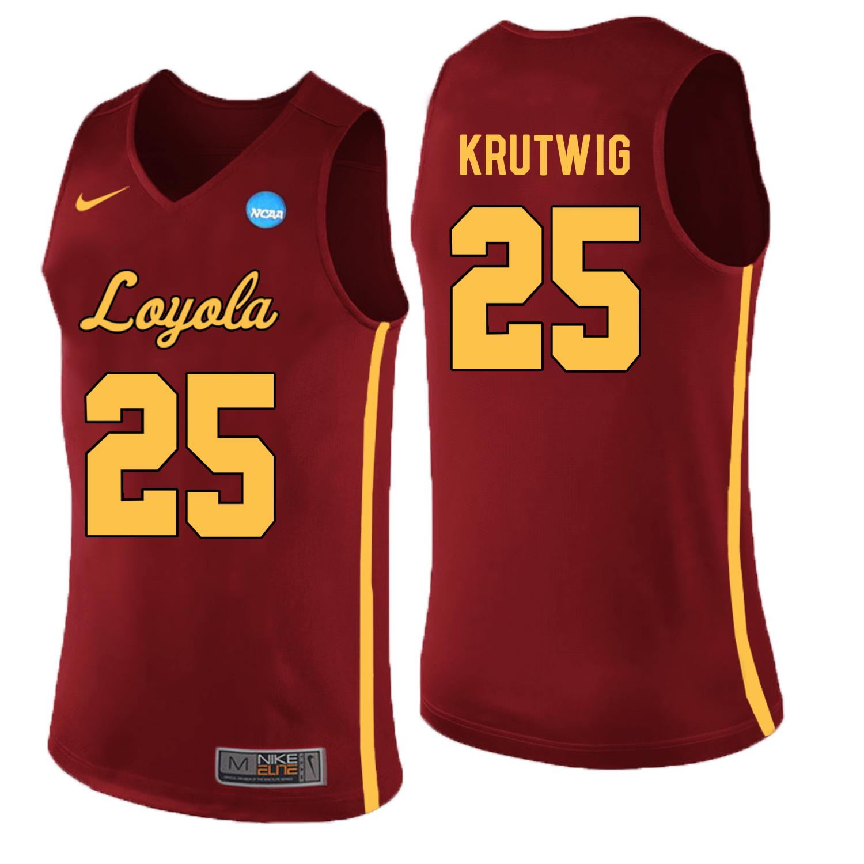 Loyola (Chi) Ramblers 25 Cameron Krutwig Red College Basketball Jersey