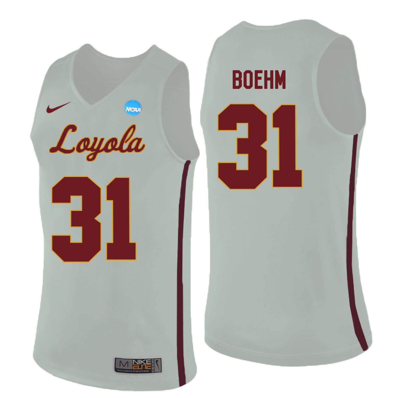 Loyola (Chi) Ramblers 31 Dylan Boehm White College Basketball Jersey