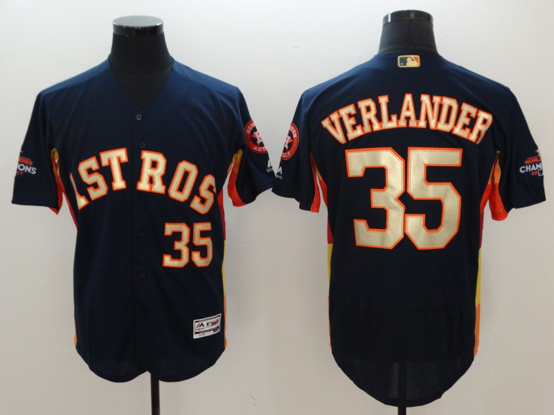 Astros 35 Justin Verlander Navy 2018 Gold Program Flexbase Jersey