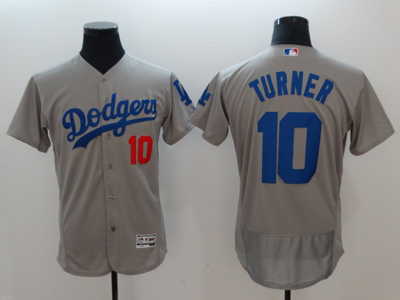 Dodgers 10 Justin Turner Gray Flexbase Jersey