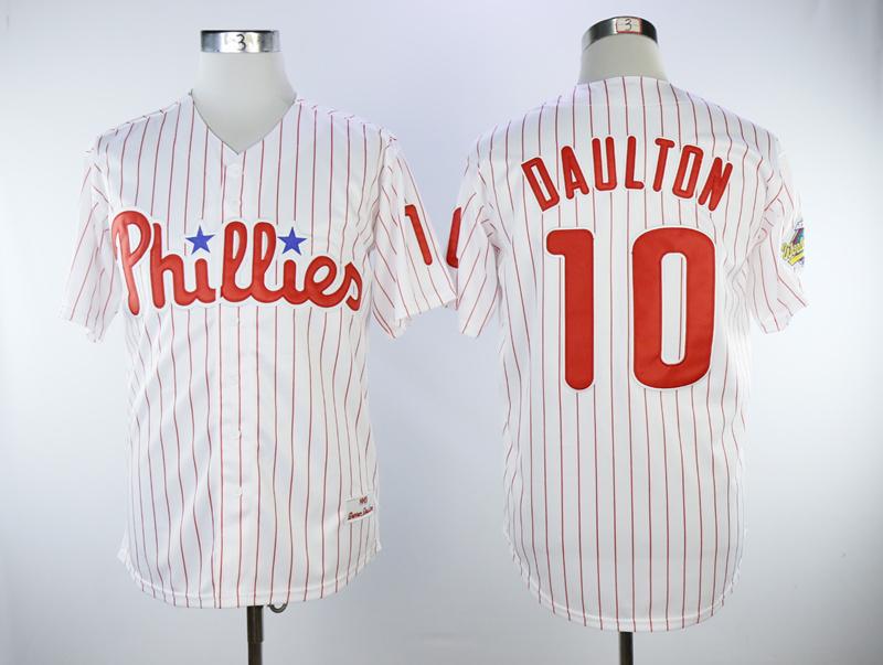 Phillies 10 Darren Daulton White 1993 Cooperstown Collection Jersey