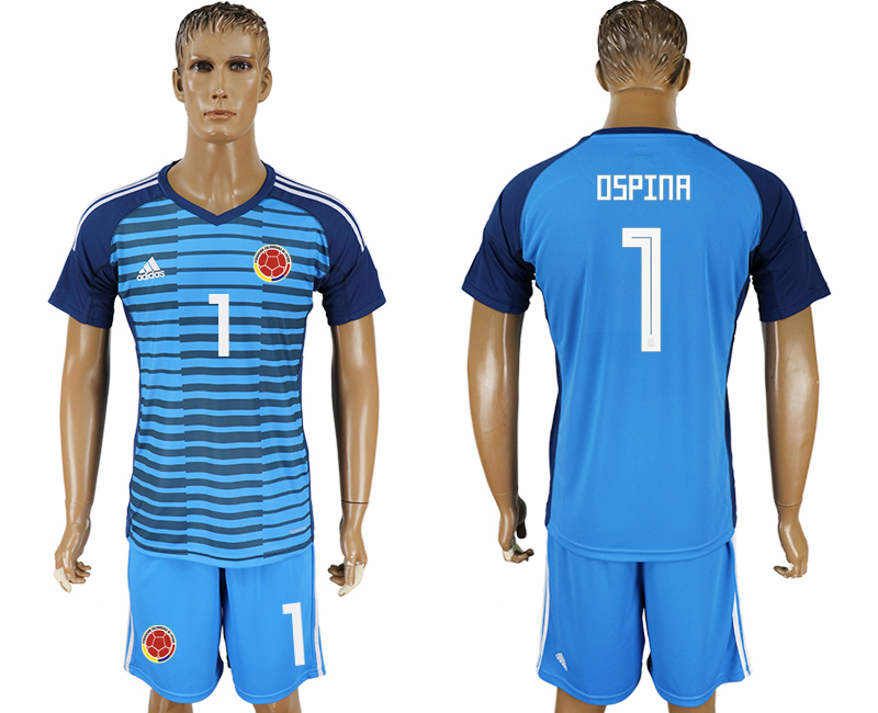 Colombia 1 OSPINA Lake Blue Goalkeeper 2018 FIFA World Cup Soccer Jersey